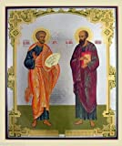St. Peter & St. Paul Large Russian Orthodox Wood Icon 15 7/8' x 13 1/8'