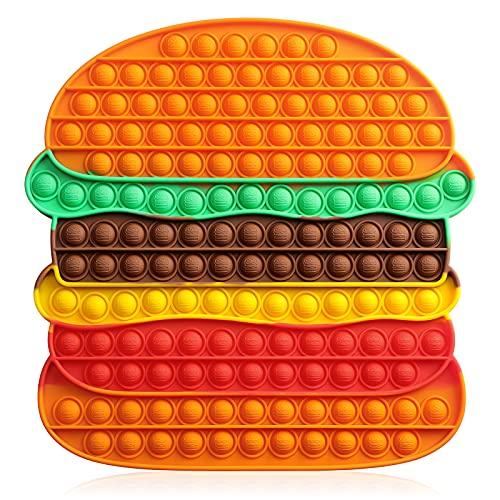 VOFOLEN Gigantesco Pop Push It Bubble Sensoriale Fidget Giocattolo,Grande Push Antistress Arcobaleno Spremere Giocattoli Silenzioso Aula Allenamento Logico Giocattoli per Bambini,Hamburger