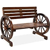 Best Choice Products 2-Person Wooden Wagon Wheel Bench for Backyard, Patio, Porch, Garden, Outdoor Lounge Furniture w/Rustic Country Design, Slatted Seat and Backrest - Brown