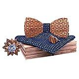 LILICATდ6PCS Noeud Papillon En Bois Homme Mouchoir Boutons de Manchette Broche Boutonnière Cravates et Nœuds Kaléidoscope Sculpté Feuilles pour Cérémonie de Mariage Party avec Coffret Cadeaux de Bois