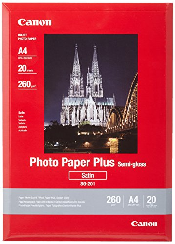 Canon Fotopapier SG-201 Plus Seidenglanz - DIN A4 20 Blatt Seidenmatt für Tintenstrahldrucker – PIXMA Drucker (260 g/qm)