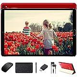Goodtel Tablet 10 Pulgadas Android 10.0, Equipada Procesador Octa-Core Ncleos a 1.6Ghz, 4GB Ram + 64GB ROM, Microsd 4-128GB / Cmara Dual / WiFi / Tablet Android con Teclado y Ratn Bluetooth -Rojo