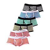 HCFKJ Boxers Rayures CaleçOns Respirables en Coton pour Hommes - pour des sous Slips Kangourou Pantalons sous VêTements Mix Couleur/Style (M, 5 Couleur)