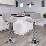Flash Furniture Contemporary Gray Fabric Adjustable Height Barstool with Curved Back and Chrome Base