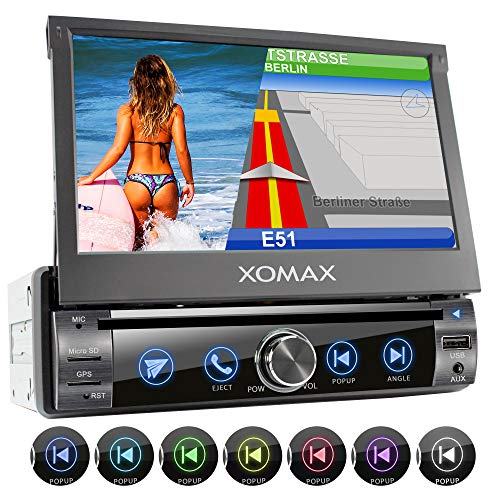 XOMAX XM-DN763 Autoradio con mirrorlink, navigatore GPS, vivavoce bluetooth, schermo touch screen 7 pollici / 18 cm, RDS, DVD, CD, USB, SD, AUX, 1 DIN
