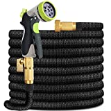 HYRIXDIRECT Garden Hose Lightweight Durable Flexible Water Hose with 3/4 Nozzle Solid Brass Connector and High Pressure Water Spray Nozzle Expanding Hoses (100 FT)