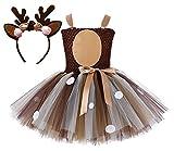 Tutu Dreams Baby Girls Deer Costume 1st Christmas Tutu Outfit Birthday Party Dress Up Reindeer Antlers Headband (Deer, S)