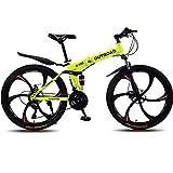 Max4out Mountain Bike Folding Bikes, Featuring 6 Spoke 21 Speed Shining SYS Double Disc Brake Fork Rear Suspension Anti-Slip (Yellow, 26 in)