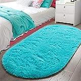 LOCHAS Luxury Velvet Fluffy Carpet Soft Children Rugs Room Mat Modern Shaggy Area Rug for Bedroom Bedside Home Decor 2.6' x 5.3', Turquoise Blue