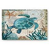 Vandarllin Coastal Blue Sea Turtle Nautical Map Doormat Welcome Mats Rugs Carpet Outdoor/Indoor for Home/Office/Bedroom, 18'x30'