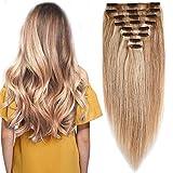 Extension Cheveux Naturel a Clip Maxi Epaisseur Extensions Cheveux Clips Naturel - 100% Remy Hair (#18+613 SABLE BLOND MECHE BLOND CLAIR, 25CM 110G)