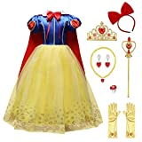 Girls Princess Snow White Costume Dress Up Jewelry Accessories Set Birthday Party Role Play Fancy Cosplay Dance Gown Outfit (04# Yellow, 4-5)