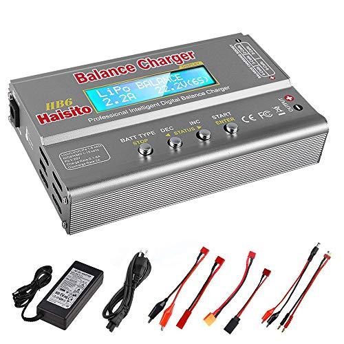 Haisito Caricabatterie Bilancia a Batteria Lipo 80W 6A Scaricatore per LiPo / Li-Ion / Life Batteria (1-6S), NiMH / NiCd (1-15 S), Rc Caricabatteria per Batteria Hobby con Alimentatore CA