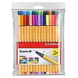 Stylo feutre pointe fine - STABILO Point 88 - Pochette de 30 stylos-feutres dont...
