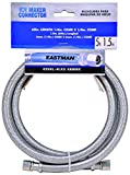 Eastman 41033 Stainless Steel Icemaker Connector 1/4' COMP, 5 Ft Length, Silver