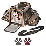 Pet Peppy Transportín para mascotas, aprobado por las compañías aéreas, de calidad prémium, ampliable por dos lados, diseñado para gatos, perros, gatitos y perritos, muy espacioso y blando