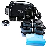 Meal Prep Bag By TO GO Insulated Lunch Meals Bag W/6 Portion Control Containers,2 ICE PACKS, Shaker, Pill Box,With an Adjustable shoulder. bag for meals (black)