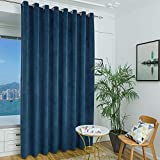 9 Foot Curtains for Sliding Patio Door - Energy Efficient Keeping Warm Velvet Blackout Drapes for Bedroom/Apartment/Hall with Grommet Top, (Peacock Blue 100 Wide by 108 inches Long, Singel Panel)