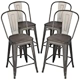 Yaheetech 24Inch Seat Height Tolix Style Dining Stools Chairs with Wood Seat/Top and High Backrest, Industrial Metal Counter Height Stool, Modern Kitchen Dining Bar Chairs Rustic, Gun, Set of 4