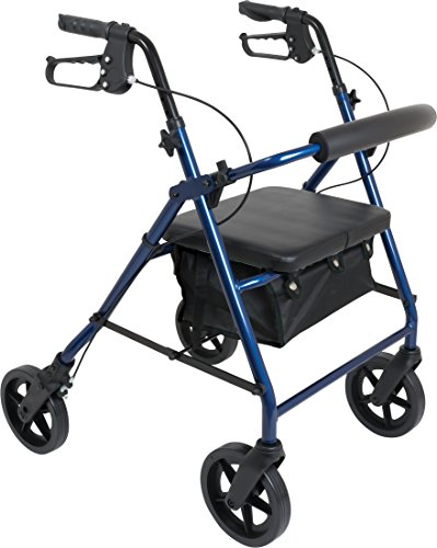 ProBasics 4 Wheel Medical Rolling Walker With 8-Inch Wheels, Seat, Backrest and Storage Pouch - Rollator Walker for Seniors- Durable Aluminum Frame Supports up to 300 lbs