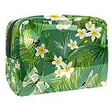 Bolsa de maquillaje portátil con cremallera bolsa de aseo de viaje para mujeres práctico almacenamiento cosmético bolsa de palmera hojas y flores exóticas