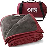 Brawntide Large Outdoor Waterproof Blanket - Quilted, Extra Thick Fleece, Warm, Windproof, Includes Shoulder Strap, Ideal Stadium Blanket, Great for Camping, Festivals, Picnics, Beaches, Dogs (Wine)