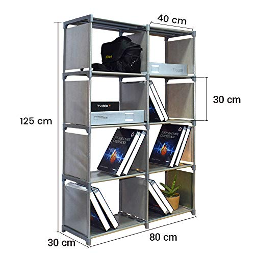 Storia 8 Layer Book Shelf 4 x 2 Layers for Books, Toys Etc. 125 x 80 cm Grey Color 1 Pc