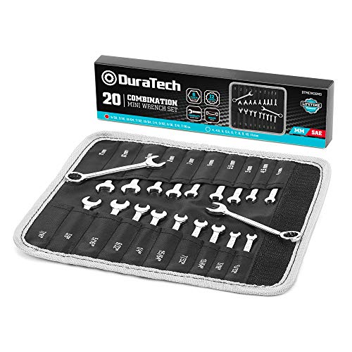 DURATECH Midget Wrench Set, Mini Combination Wrench Set, Metric & SAE, 20-Piece, 4-11mm & 5/32'' to 7/16'', Lightweight, with Rolling Pouch