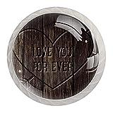 KAMEARI Juego de 4 pomos redondos para armario Love You Forever