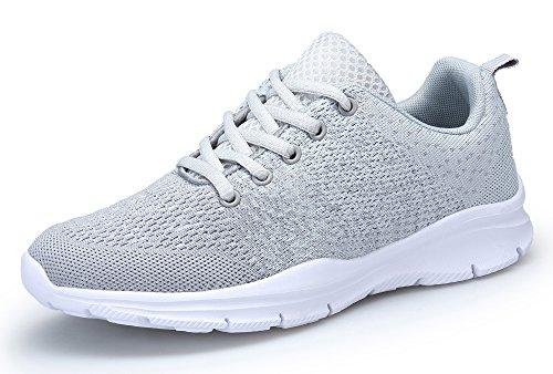 KOUDYEN Laufschuhe Atmungsaktiv Turnschuhe Schnürer Sportschuhe Sneaker für Herren Damen (EU38, Grau)