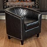 Christopher Knight Home Mia Bonded Leather Quilted Club Chair, Black