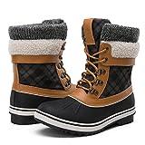 GLOBALWIN Women's Winter Snow Boots (8.5 D(M) US Women's, Black/Camel)
