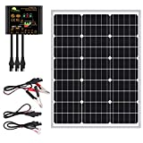 50 Watts Mono Crystalline 12V Off Grid Solar Panel Kit - Waterproof 50W Solar Panel + Photocell 10A Solar Charge Controller with Work Time Setting + SAE Connection Cable Kits