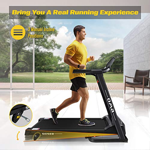 OMA Home Treadmills, Max 2.25 HP Folding Incline Treadmills for Running and Walking Exercise with LED Display of Tracking Heart Rate, Calories - Black 5