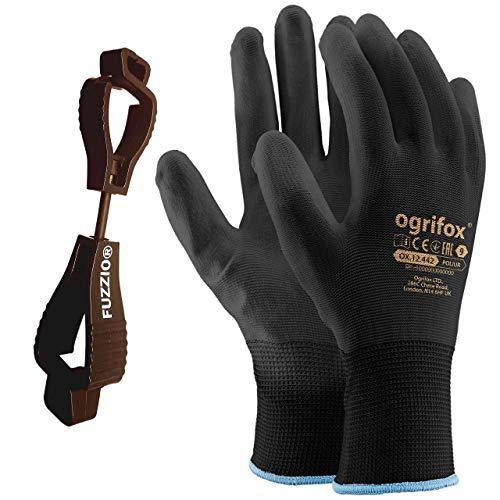 24 paia di guanti da lavoro rivestiti poliuretano e supporto clip per guanti FUZZIO (M - 8, Nero)
