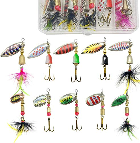 10pcs Fishing Lures Spinnerbait, MUIIGOOD Fishing Spoon Set for Bass Trout Salmon Walleye Hard Metal...