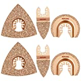 6pcs Universal Carbide Oscillating Saw Blades, HEMUNC Mixed Multitool Saw Blades Semicircle Triangular Finger Kit for Tile Grout Mortar Concrete Masonry