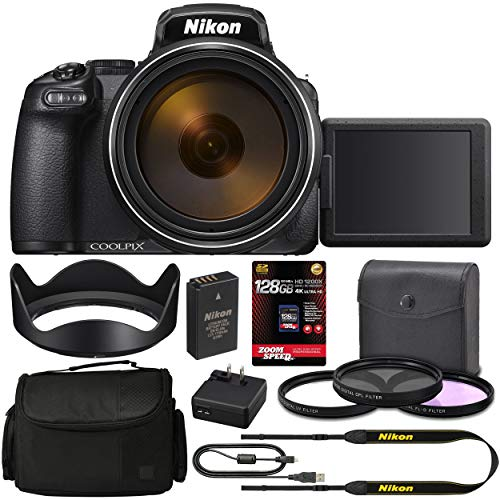 Nikon COOLPIX P1000 Digital Camera (Black) 26522 + 128GB 4K AOM Pro Kit: International Version (1 Year AOM Warranty)