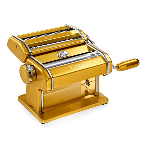 Marcato 8320GD Atlas 150 Pasta Machine, Made in Italy, Gold, Includes Cutter, Hand Crank, and Instructions
