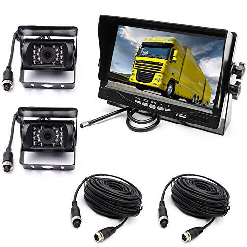 pumpkin1:4 Pin 2X18 LED Visione Notturna Infrarossi Telecamera di Retromarcia Impermeabile Infrarossi con 10M Linea del cavo + 7'' LCD TFT HD da Schermo per Camper/ Camion/ Rimorchi/ Autobus