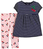 Carter's Girls' 2-Piece Top and Capri Legging Sets (Navy/Pink/Cherry, 4T)