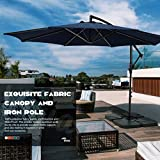 VOUA Rotating Offset Patio Umbrella 10ft Large Outdoor Hanging Umbrella Cantilever Umbrella 8 Ribs Tilt Adjustment Design UV Protection fabric with Crank & Cross Base,Weight not Included, Navy