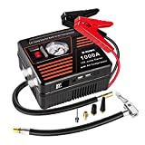 JF.EGWO Portable Car Jump Starter with Air Compressor, 1000 AMP Lithium Car Jump Starter for Up to 7.0L Gas or 5.5L Diesel Engine, 150 PSI Tire Inflator Pump, USB Charging Ports and 2 LED Light