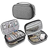 Teamoy Jewelry Travel Case, Jewelry & Accessories Holder Organizer for Necklace, Earrings, Rings, Watch and More, Roomy, Compact and Portable, Grey
