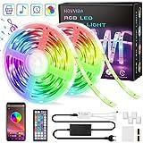 15M Ruban LED RGB Musique, HOVVIDA Bluetooth Bande LED RGB 12V, Contrôlé...