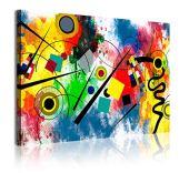 DEKOARTE 342 Cuadro moderno en lienzo, estilo abstracto Kandinsky, Rojo, 1 pieza (120x80cm)