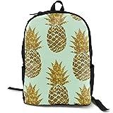 XCNGG Mochila de impresión de fotograma Completo para Adultos Mochila Informal Mochila Mochila Escolar NiYoung Backpacks Gold Pineapple Pattern School Bag Travel Daypack Shoulder Bag