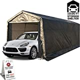 kdgarden 10 x 20-Feet Heavy Duty Carport Portable Garage Enclosed Car Canopy Outdoor Instant Shelter Party Tent with Sidewalls for Auto and Boat Storage, Waterproof and UV-Treated, Grey Peak Top Style