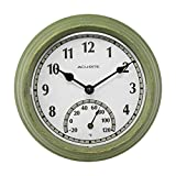 AcuRite 02470 Rustic Green Outdoor Clock with Thermometer, 8.5'