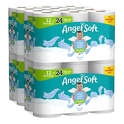 Angel Soft Toilet Paper, Linen Scent, Double Rolls, Bath Tissue, 12 Count of 214 Sheets Per Roll, Pack of 4, White (79373)